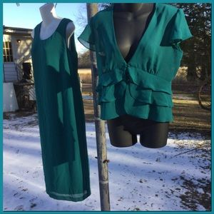 2pc. Teal shift dress & cover blouse